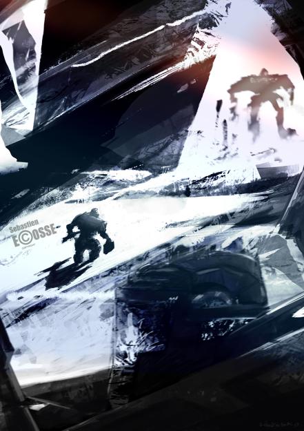 speed-painting-snow-mecha-giant-robots-soldier-sebastien-ecosse-illustration
