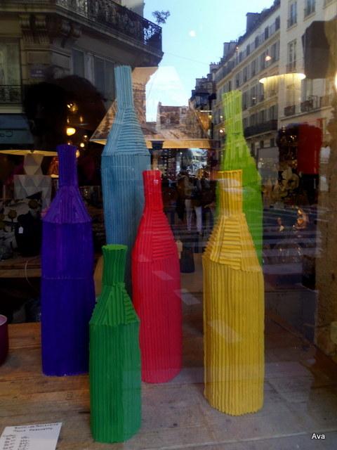 bouteilles colorées, décoration