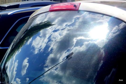 clouds, dive, car, reflection