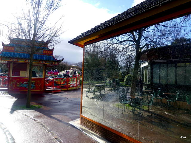 terrace, reflection