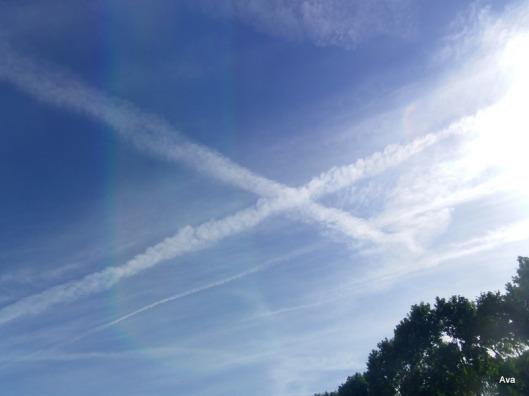 ciel, bleu, nuages, croix