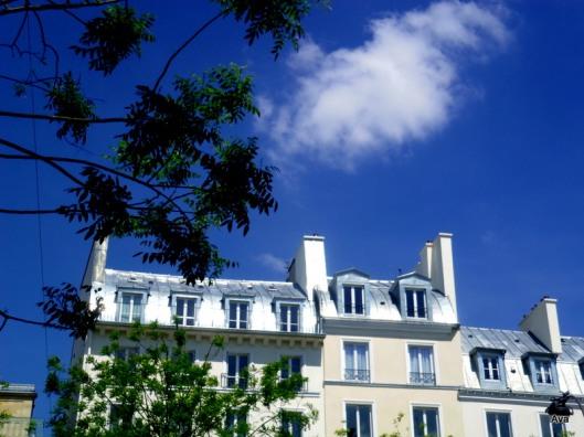 ciel bleu, toit, nuage, Paris