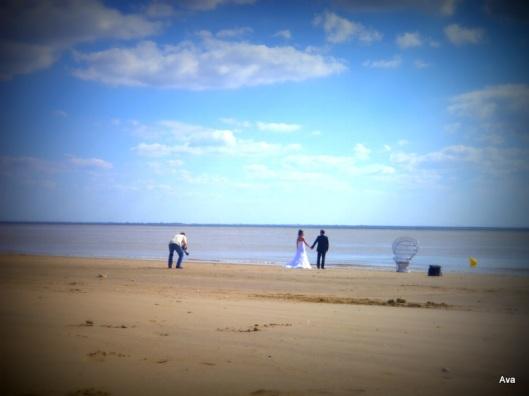 plage, mariés, photographe