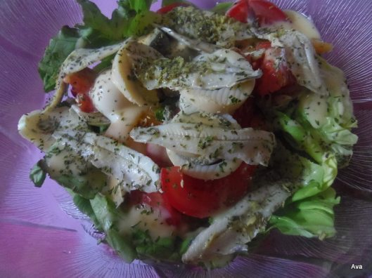 salade, anchois, melon