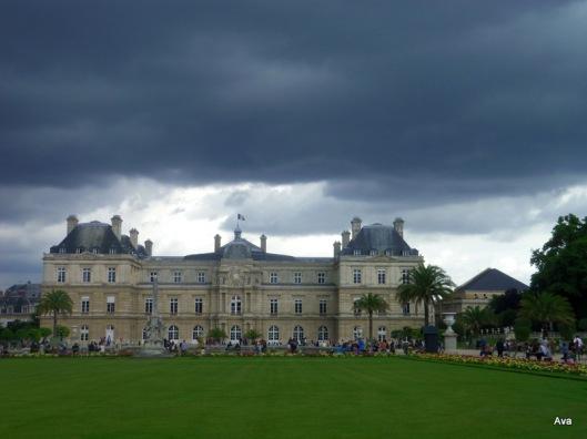 jardin du luxembourg, sénat, ciel, noir