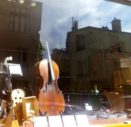 a violin in the shop window