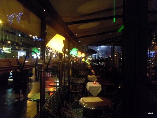 lights of the café terraces