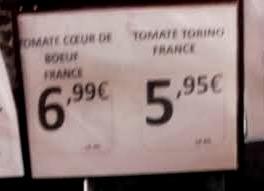 prix des tomates coeur de boeuf