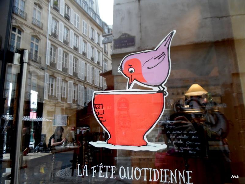 a bird on the shop window